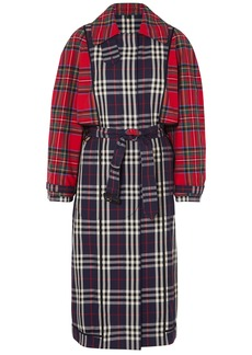 Burberry Woman Patchwork Checked Cotton Trench Coat Navy