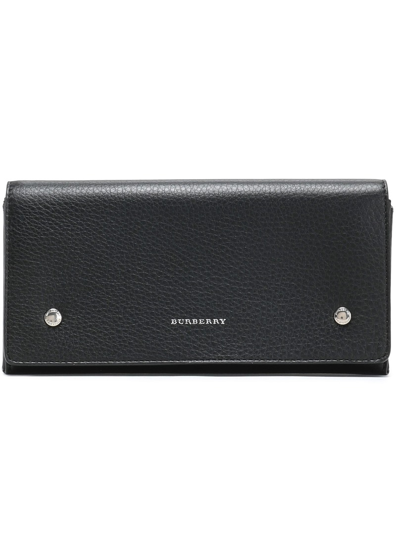Burberry Woman Pebbled-leather Continental Wallet Black
