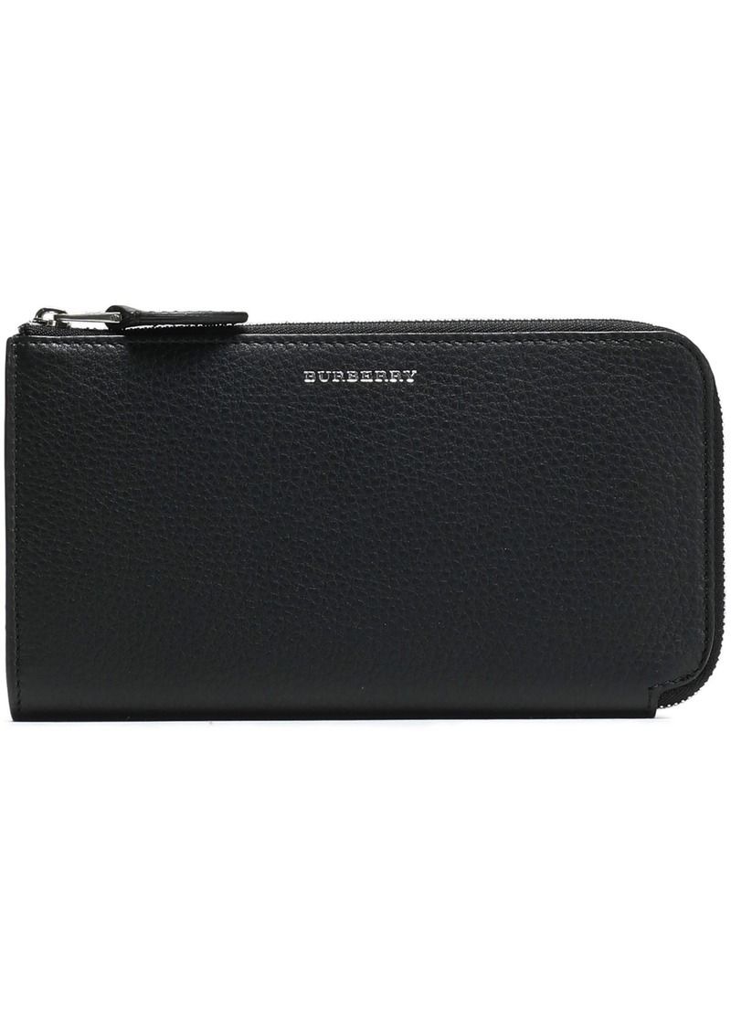 Burberry Woman Pebbled-leather Wallet Black