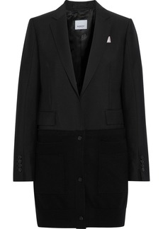 Burberry Woman Printed Cashmere-paneled Wool And Mohair-blend Blazer Black