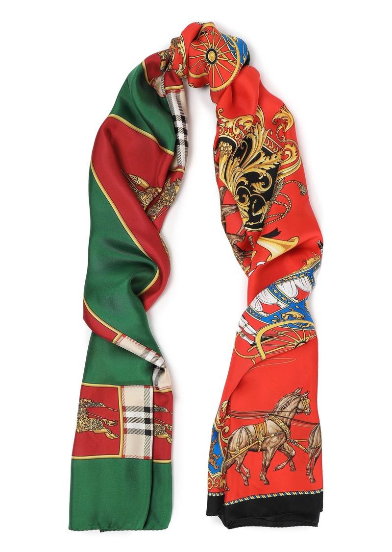 Burberry Woman Printed Silk-twill Scarf Multicolor