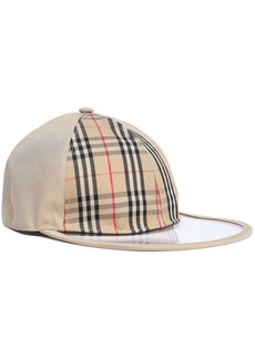 Burberry Woman Pvc-paneled Checked Cotton-gabardine Baseball Cap Neutral