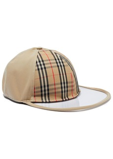 Burberry Woman Pvc-paneled Checked Cotton-twill Baseball Cap Sand