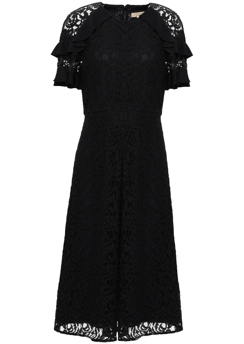 Burberry Woman Ruffled Crepe-trimmed Corded Lace Dress Black