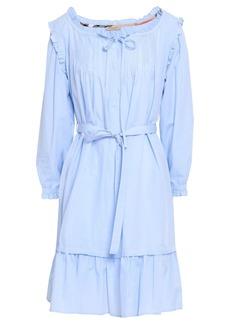 Burberry Woman Ruffle-trimmed Pintucked Cotton-poplin Mini Dress Sky Blue