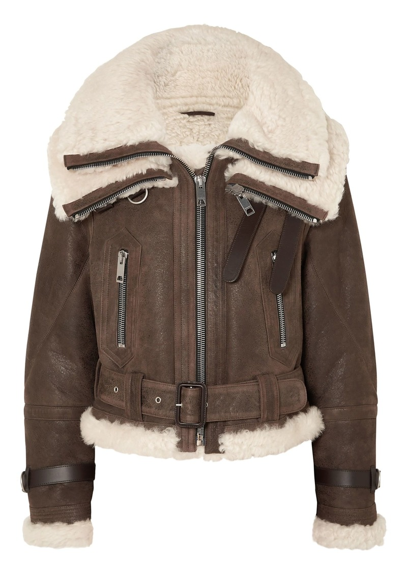 Burberry Woman Shearling-trimmed Textured-leather Jacket Brown
