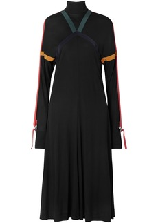 Burberry Woman Silk-trimmed Jersey Turtleneck Midi Dress Black