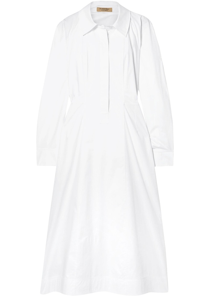 Burberry Woman Stretch-cotton-poplin Midi Shirt Dress White