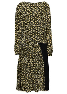 Burberry Woman Stretch Knit-paneled Floral-print Silk Crepe De Chine Dress Pastel Yellow