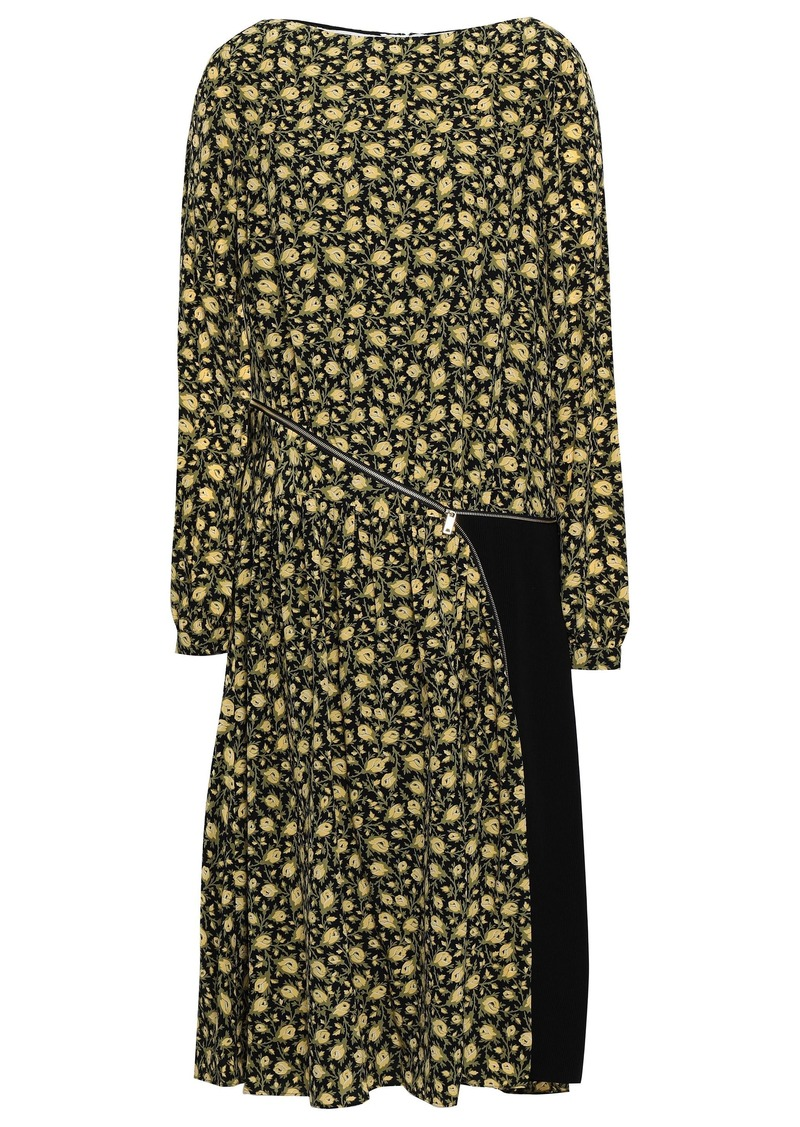 Burberry Woman Ribbed Knit-paneled Floral-print Silk Crepe De Chine Dress Pastel Yellow