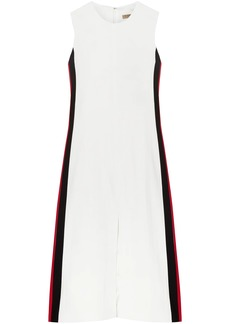 Burberry Woman Striped Crepe Midi Dress White