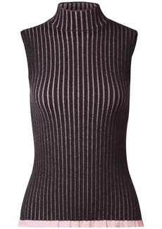Burberry Woman Striped Ribbed Cashmere And Silk-blend Turtleneck Top Charcoal