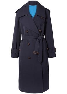 Burberry Woman The Regina Oversized Wool-gabardine Trench Coat Navy