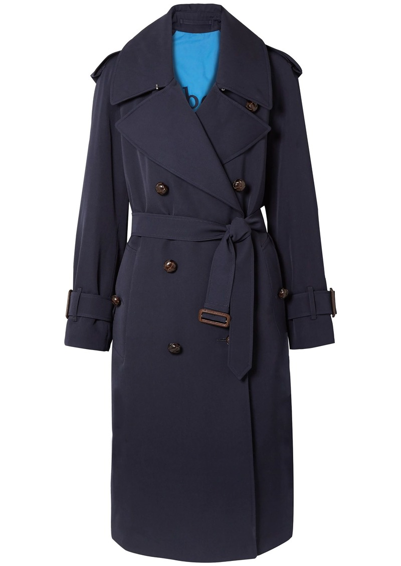 Burberry Woman The Regina Oversized Wool-gabardine Trench Coat Navy