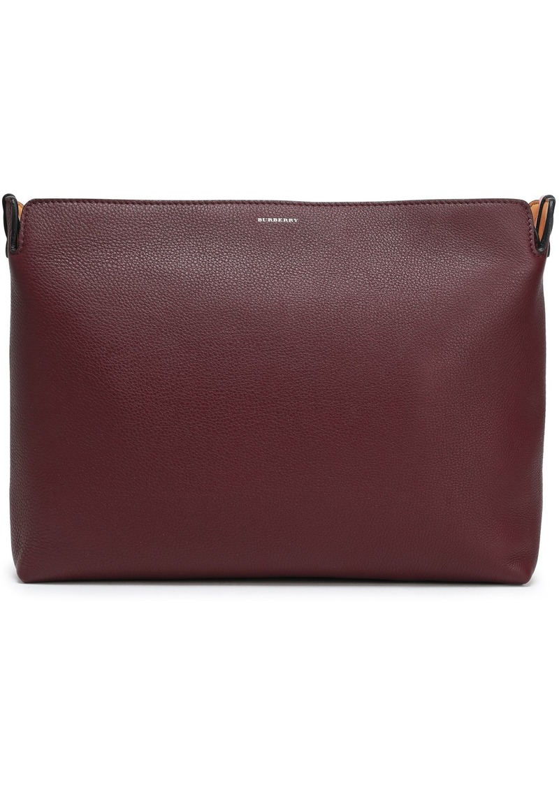 Burberry Woman Two-tone Pebbled-leather Clutch Burgundy