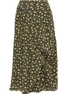 Burberry Woman Zip-detailed Draped Floral-print Silk Midi Skirt Yellow