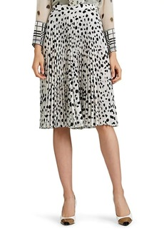 Burberry Women's Pleated Dot-Print Crepe Skirt