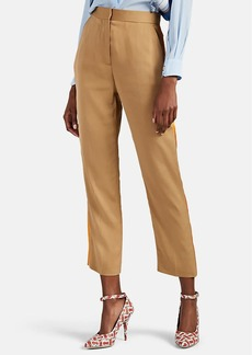 Burberry Women's Satin-Trimmed Crêpe De Chine Tapered Trousers