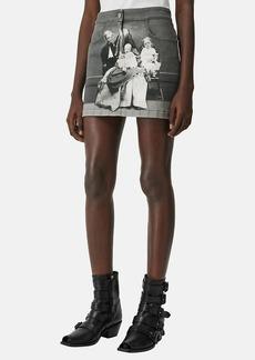 Burberry Women's Victorian-Portrait Denim Miniskirt