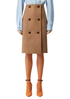 Burberry Wool-Cashmere Double-Breasted Slim Skirt