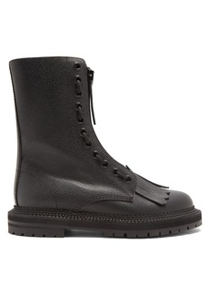 Burberry Zip-front grained-leather ankle boots