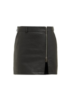 Burberry Zip-front leather miniskirt