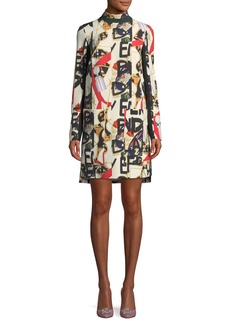 Burberry Zoya High-Neck Graffiti-Print Dress