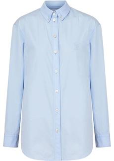 Burberry Button-down Collar Monogram Motif Cotton Shirt
