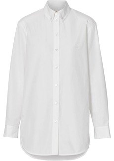 Burberry Button-down Collar Monogram Motif Cotton Shirt