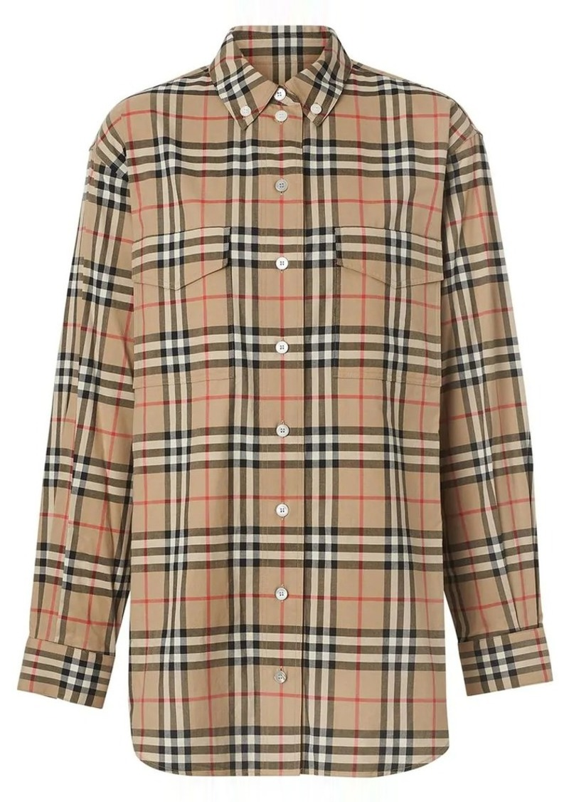 Button-down Collar Vintage Check Oversized Shirt