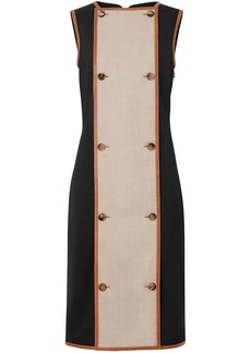 Burberry Button Panel Detail Stretch Wool Shift Dress