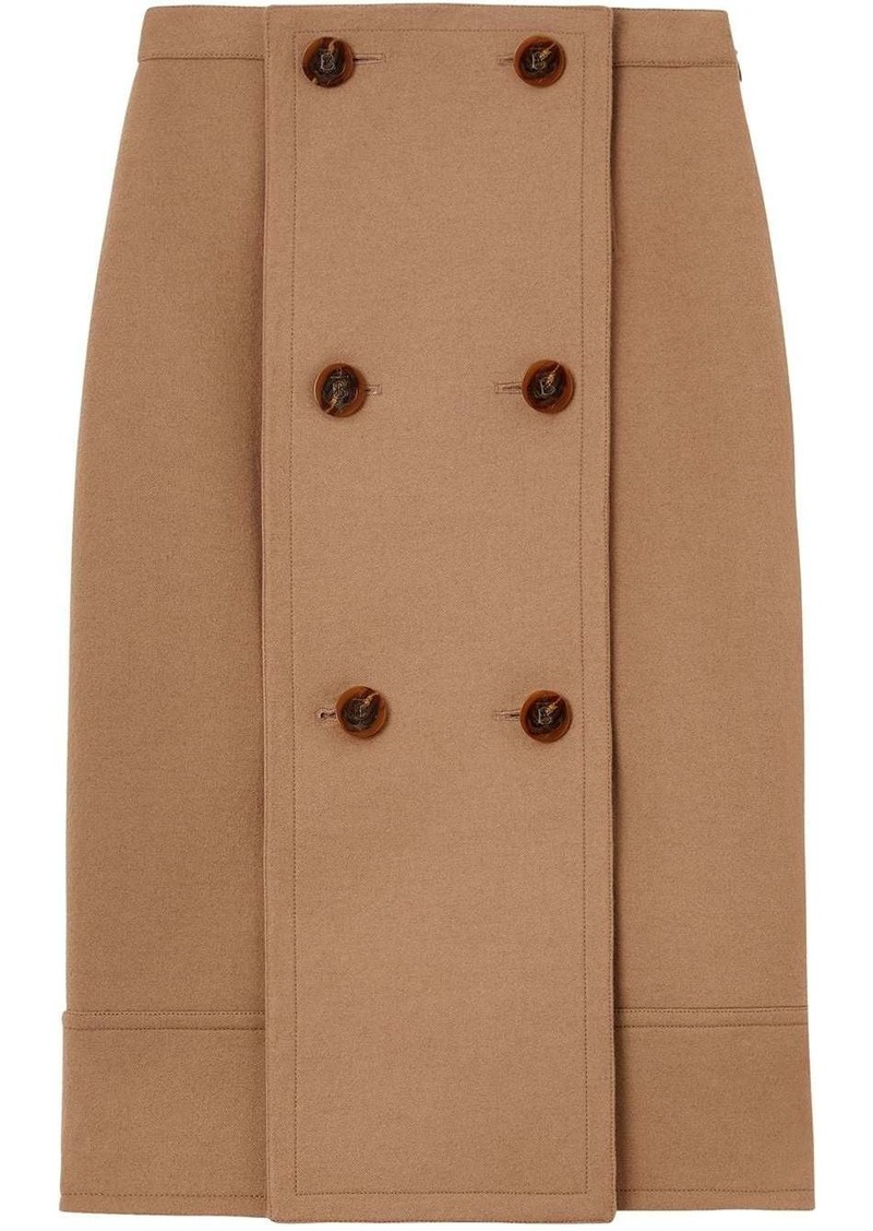 Burberry Button Panel Detail Wool Cashmere A-line Skirt