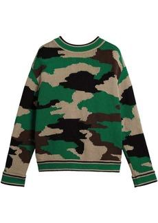 Burberry Camouflage Intarsia Cotton V-neck Sweater