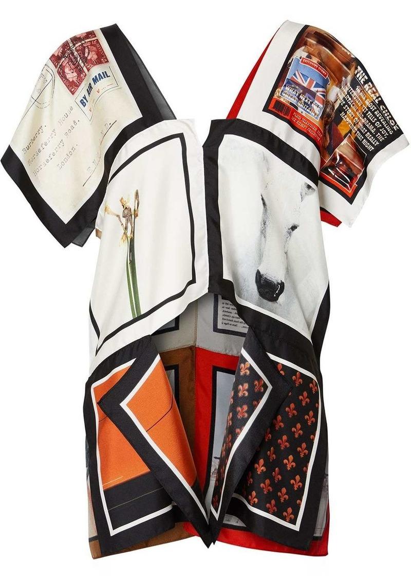 Burberry Cap-sleeve Montage Print Silk Top