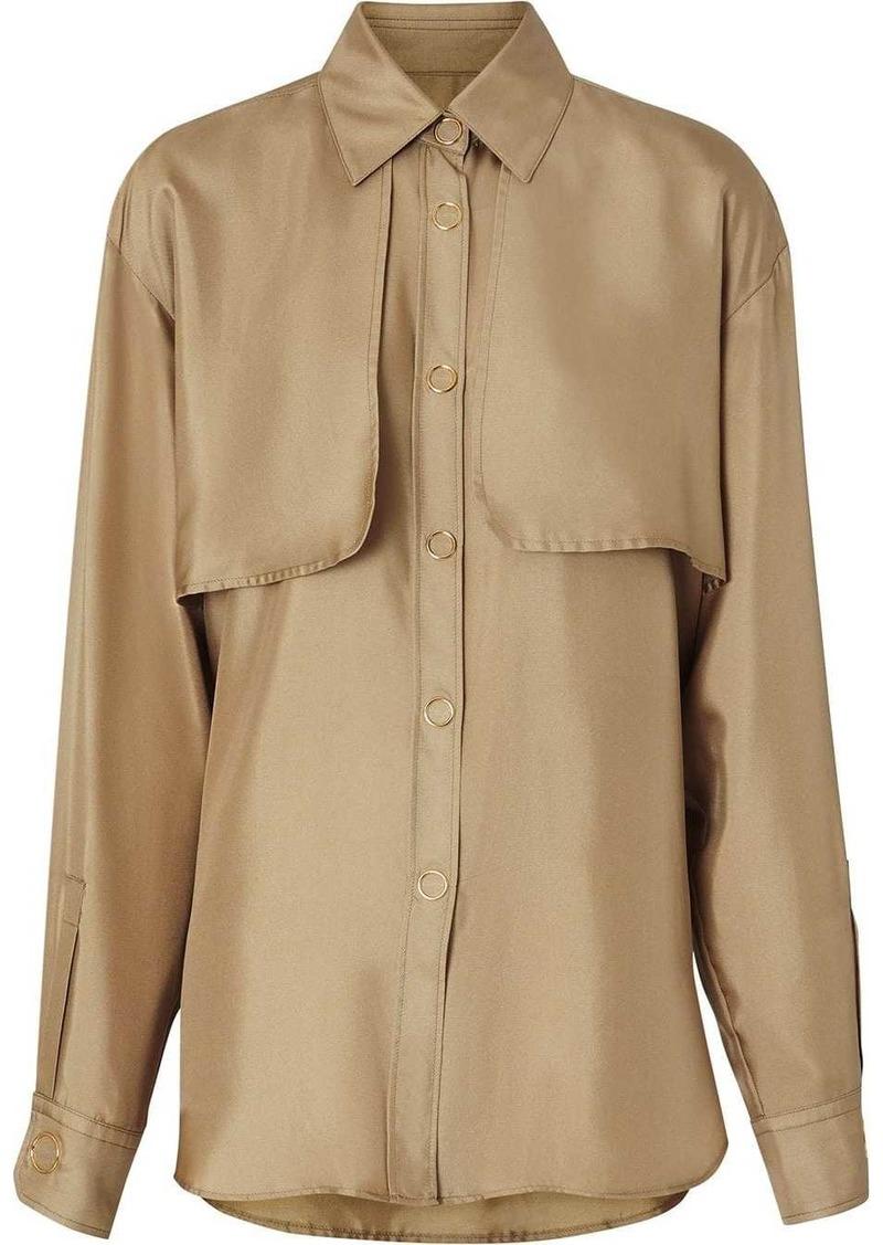 Burberry Cape Detail Silk Shirt