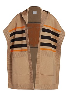Burberry Carla TB Monogram Wool & Cashmere-Blend Striped Cape Cardigan