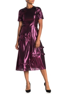 Burberry Carmelita Silk Blend Metallic Midi Dress