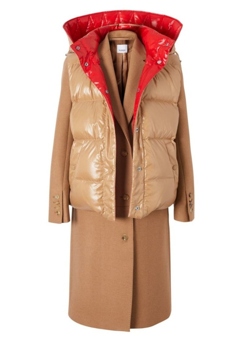 Burberry Cashmere Coat With Convertible Puffer Vest