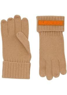 Burberry cashmere logo appliqué gloves