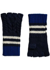 Burberry cashmere striped cable knit fingerless gloves