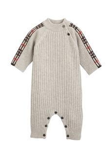 Burberry Cathina Check-Trim Rib-Knit Coverall