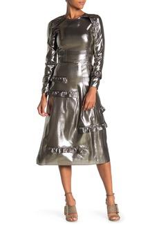 Burberry Celestia Silk Blend Metallic Midi Dress