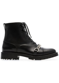 Burberry Chain Detail Lace-up Ankle Boots