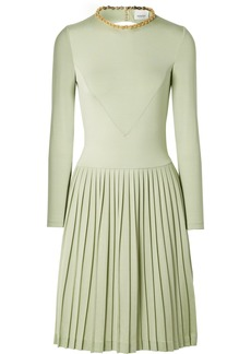 Burberry Chain-embellished Open-back Pleated Silk-blend And Jersey Dress