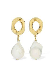 Burberry Chain Link Earrings W/ Freshwater Pearl