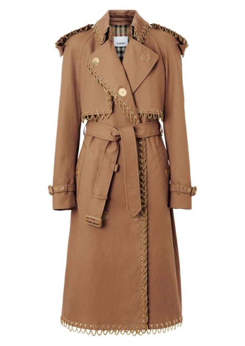 Burberry Chain-Trim Trench Coat