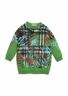 Burberry Check & Graffiti Print Sweatshirt Dress