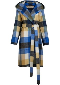 Burberry check alpaca wool blend dressing gown coat