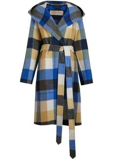 Burberry check alpaca wool blend dressing gown coat