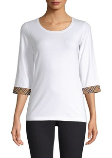 Burberry Check Cuff Three-Quarter Sleeve Top